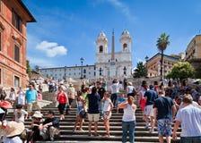 Toeristen bij de Spaanse Stappen, Rome, Italië Royalty-vrije Stock Foto's