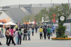 Toeristen bij spel van het Tennis van China het Open Stock Foto