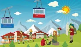 Toeristen in de Alpen royalty-vrije illustratie
