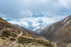 Toeristen in de Himalayan-bergen, Nepal Royalty-vrije Stock Afbeelding