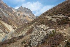 Toeristen in de Himalayan-bergen, Nepal Stock Foto's