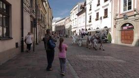 Toeristen die beelden van vervoer met twee het witte paarden overgaan nemen stock videobeelden
