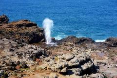 Toeristen die de Nakalele-gietgal op de kustlijn van Maui bewonderen Een straal van water en lucht wordt hevig binnen gedwongen u royalty-vrije stock afbeeldingen