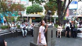 Toeristen die hun die foto's hebben door Hachiko het hond herdenkingsstandbeeld voor Shibuya-post worden genomen stock footage