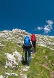 Backpackers die in de bergen op een toeristenspoor wandelen Stock Foto