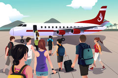 Toeristen die op een vliegtuig inschepen stock illustratie