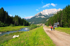 Toeristen die toneelweg in Dolomiet lopen Royalty-vrije Stock Foto