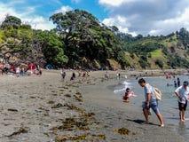 Toeristen die touristy materiaal terwijl uit en ongeveer in Nieuw Zeeland doen stock afbeelding