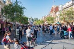 Toeristen in Disneyland stock foto