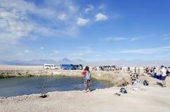 Toeristen in laguna zoutwater in woestijn royalty-vrije stock foto