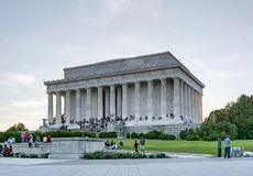 Toeristen in Lincoln Memorial in Washington DC royalty-vrije stock foto