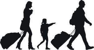 Toeristen met bagage Stock Afbeeldingen