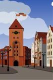 Toeristen middeleeuwse stad Beeldstadhuis Royalty-vrije Stock Fotografie