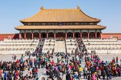Toeristen om Peking te bezoeken de Verboden Stad in China Royalty-vrije Stock Afbeelding