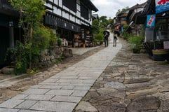 Toeristen op de straten van Magome-stad japan Royalty-vrije Stock Afbeelding