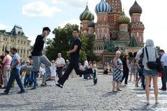 Toeristen op rood vierkant in Moskou Royalty-vrije Stock Fotografie