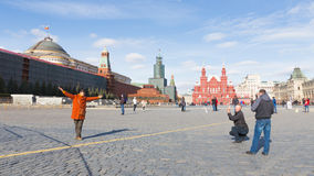 Toeristen op Rood Vierkant, Moskou Royalty-vrije Stock Afbeelding