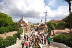 Toeristen in Park Guell - Barcelona Stock Afbeeldingen