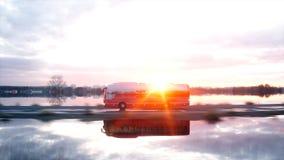 Toeristen rode bus op de weg, weg Zeer snel drijvend Toeristisch en reisconcept het 3d teruggeven Stock Foto