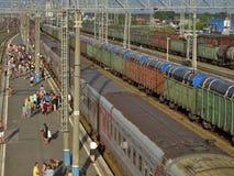 Toeristen in Russische Trainstations Royalty-vrije Stock Fotografie