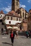 Toeristen in Sibiu Stock Foto's