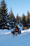 Toeristen in wintertijd Royalty-vrije Stock Afbeelding