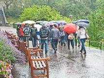Toeristen in zeer nat Edinburgh. Stock Foto's