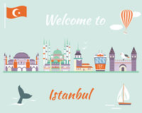 Toeristenaffiche met beroemde bestemmingen en oriëntatiepunten van Istanboel vector illustratie