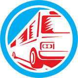 Toeristenbus Retro Shuttle Bus Circle Stock Foto's