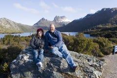 Toeristenfoto met Landschap stock afbeeldingen