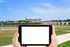 Toeristenfoto's van Gien-stad, Frankrijk Stock Foto