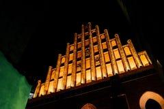Toeristengebied van de oude stad in nacht Warshawa Stock Foto