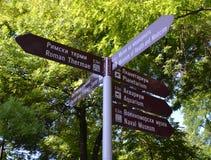 Toeristengids van richtingen en afstanden aan aantrekkelijkheden stock afbeeldingen