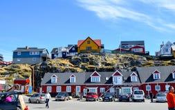 Toeristenmening van Nuuk, Kapitaal van Groenland royalty-vrije stock foto