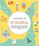 Toeristenpamflet met beroemde bestemmingen en oriëntatiepunten van Istanboel vector illustratie