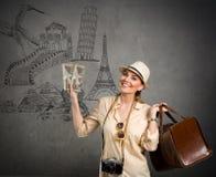 Toeristenreis rond de wereld Stock Afbeelding