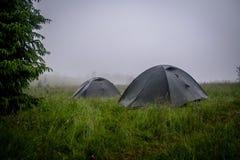 Toeristentent die op de rivierbank kamperen Zuidelijk Insect ukraine royalty-vrije stock foto