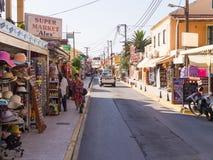 Toeristenwinkels in Sidari - Korfu (Kerkyra) Stock Fotografie