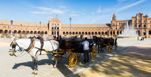 Toeristisch paardvervoer in Sevilla, Spanje Stock Fotografie