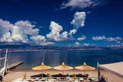 Toeristisch strand in Reggio Calabria dichtbij de Straat van Messina royalty-vrije stock foto's