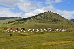 Toeristisch yurtkamp royalty-vrije stock fotografie