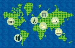 Toeristische kaart van de wereld Stock Foto's