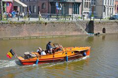 Toerists taking a boat-tour in gent Royalty Free Stock Images