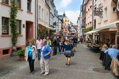 Toerists walking in the historical city Bernkastel Royalty Free Stock Photo