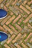 Toes of modern training shoes standing on old cobble stones in a. Herringbone pattern Royalty Free Stock Photo