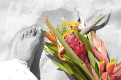 Toes in sand. Brides toes in sand beside her bouqet royalty free stock images