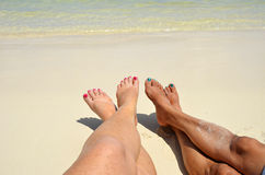 Toes in the Sand in San Pedro, Belize Royalty Free Stock Photography