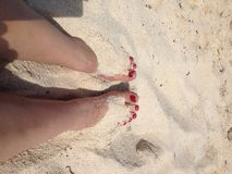 Toes in the sand. Toes warming in the beach sand Stock Photo
