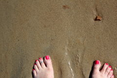 Toes in sand. Wet sandy beach with single rock and pink toes sinking in the sand Stock Photo