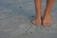 Toes on sand. Toes on the wonderful sandy Royalty Free Stock Photography